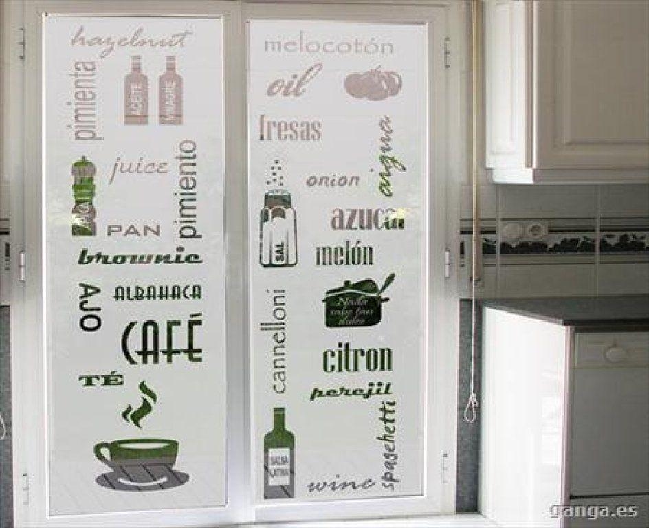 Puertas de vidrio para cocinas con letras b squeda de - Vinilos para puertas de armarios de cocina ...