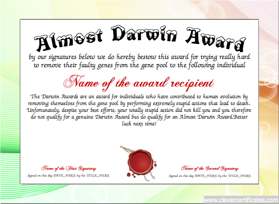 Almost Darwin Award. FREE Certificate Templates! You can