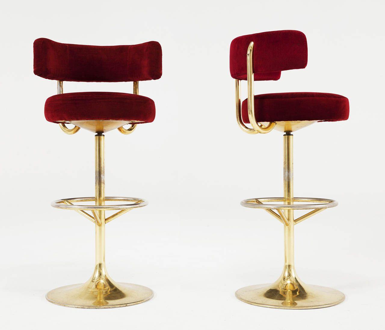 Set Of 7 Brass And Red Velvet Barstools Modern Stools