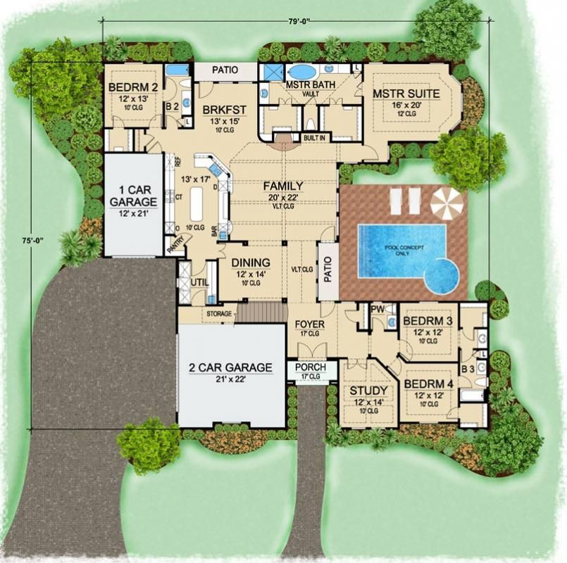 Villa serego house plan 1 story 3523 square foot 4 for 4 bedroom villa plans