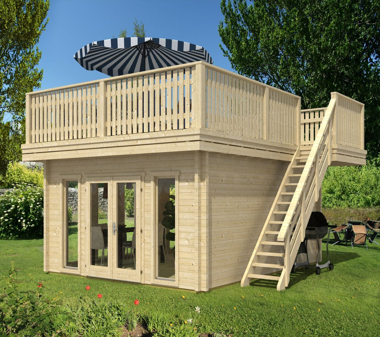 Terrassendachhaus70 Gartenhaus selber bauen, Gartenhaus