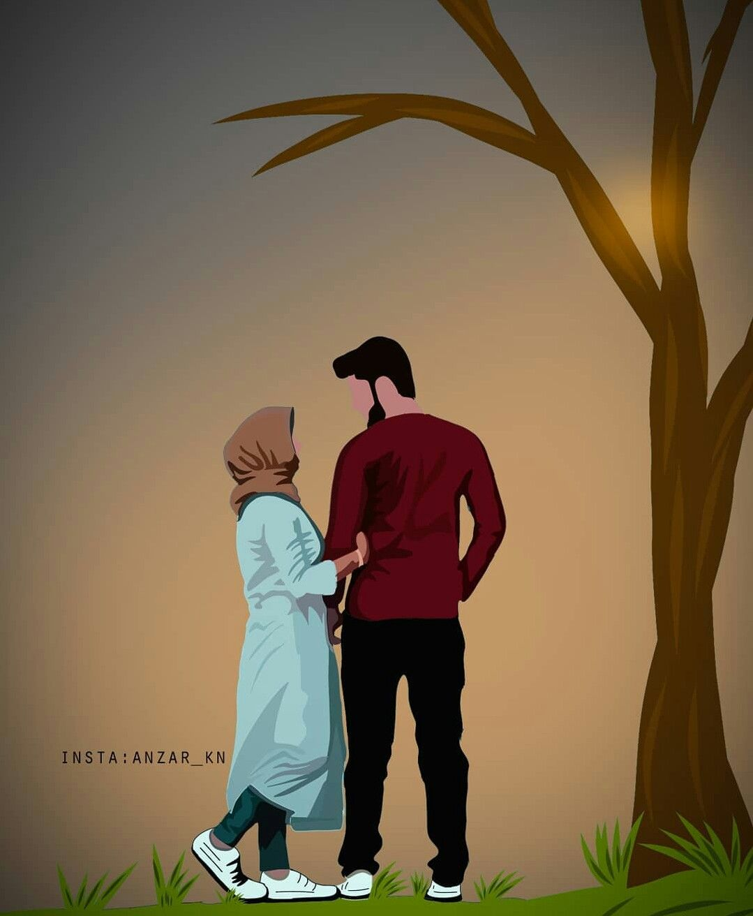 Pin By Lalip Mohamed On Muslim Couple Art Cute Love Cartoons Love Cartoon Couple Anime Muslim
