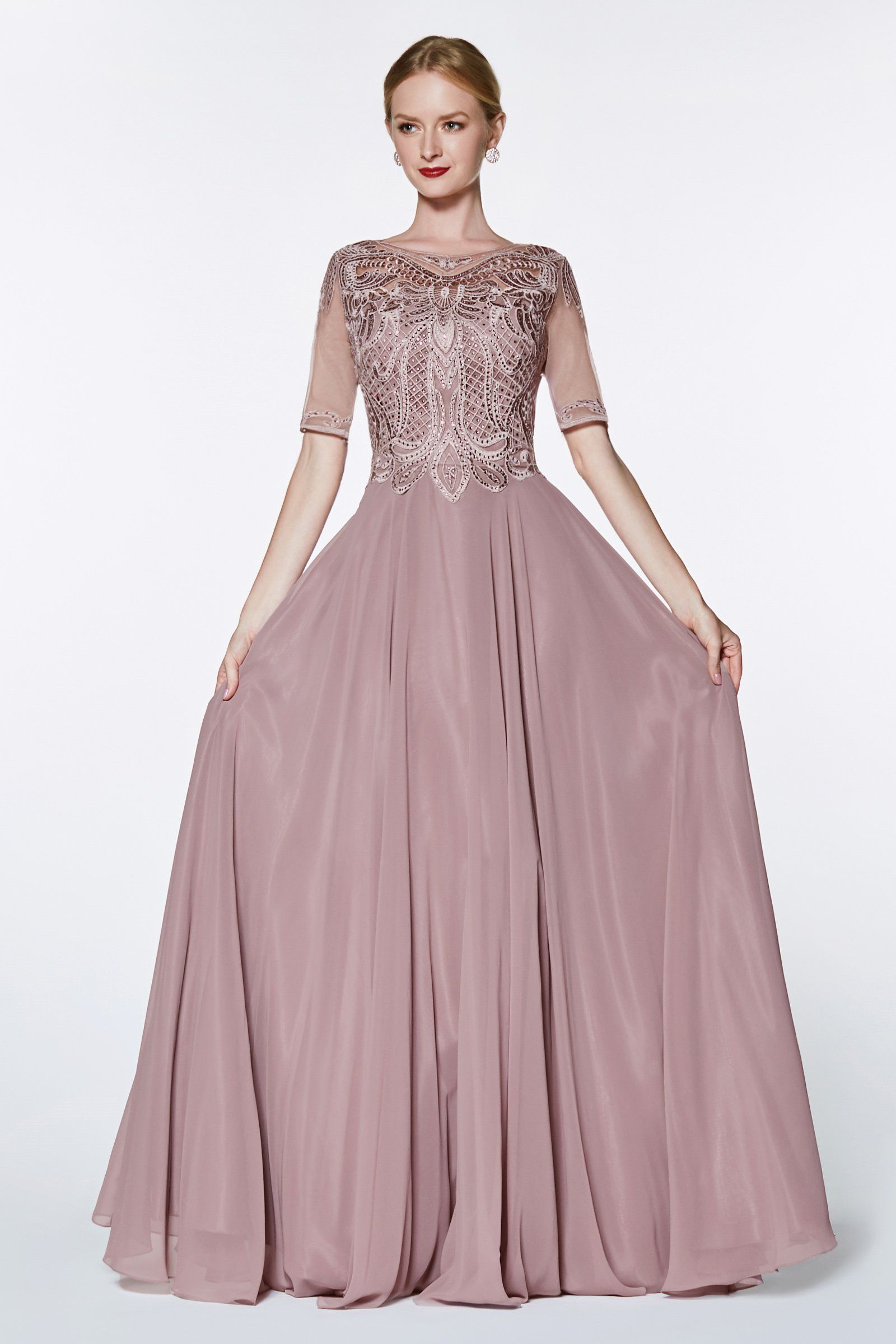 df86e4a1a8e Long Chiffon Dress with Sheer Sleeves by Cinderella Divine CD0134 in ...