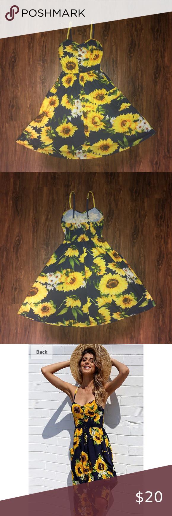 Women S Spaghetti Strap Sunflower Midi Dress Women S Summer Floral Bohemian Dress Non Adjustable Spaghetti S Bohemian Floral Dress Midi Dress Midi Swing Dress [ 1740 x 580 Pixel ]