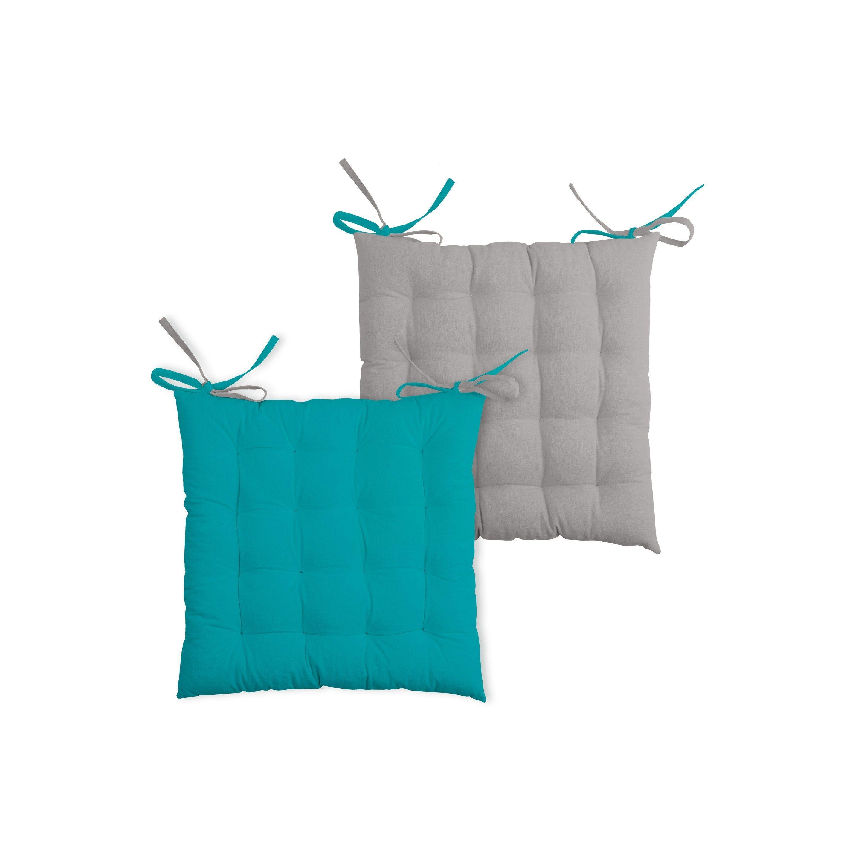 Galette De Chaise Duo Bleu Gris L 40 X H 7 Cm Galette De Chaise Bleu Gris Et Gris