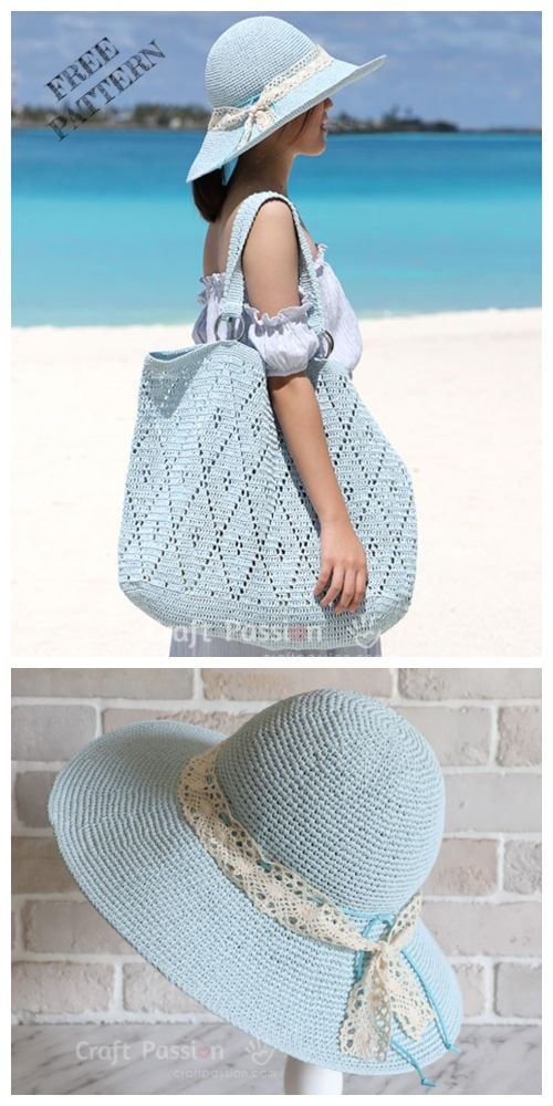 Diamond Stitch Tote Bag Free Crochet Pattern #crochethandbags