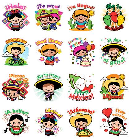 Hola Mexico Lindo Sticker For Line Whatsapp Telegram Android Iphone Ios Best Embroidery Machine Line Sticker Doodle Books