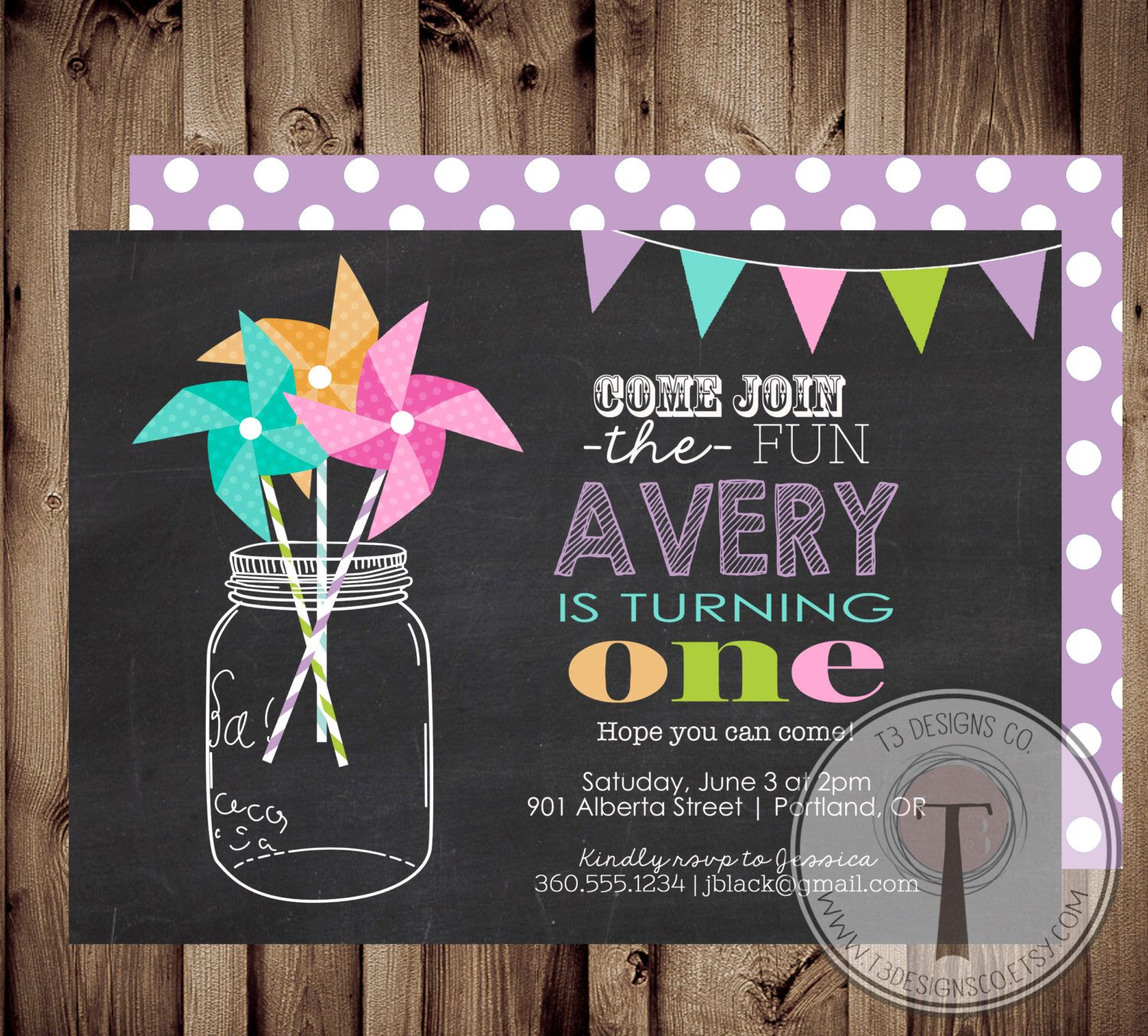 PINWHEEL Rainbow Confetti birthday invitation,mason jar, pinwheels ...