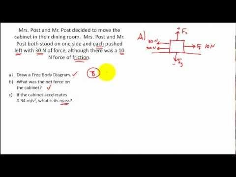Net Force Practice Problems Calculating The Net Force Free Body Diagrams F Ma Body Diagram Body Force