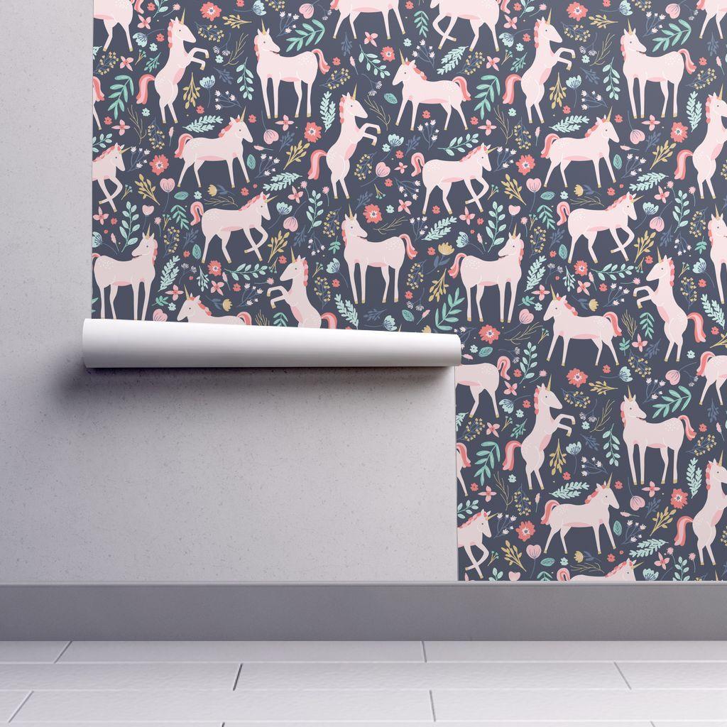 Unicorn Fields In 2021 Unicorn Wallpaper Pink Unicorn Wallpaper Spoonflower Wallpaper
