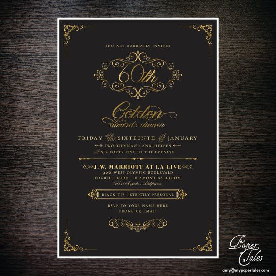 Black Tie Awards Dinner Formal Invitation by PaperTalesCustom - formal invitation
