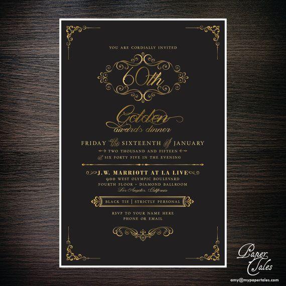 Black Tie Awards Dinner Formal Invitation by PaperTalesCustom - invitation unveiling