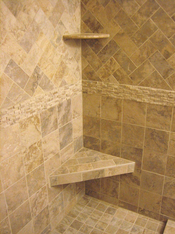 Travertine tile shower design idea. Use lighter color tile ...