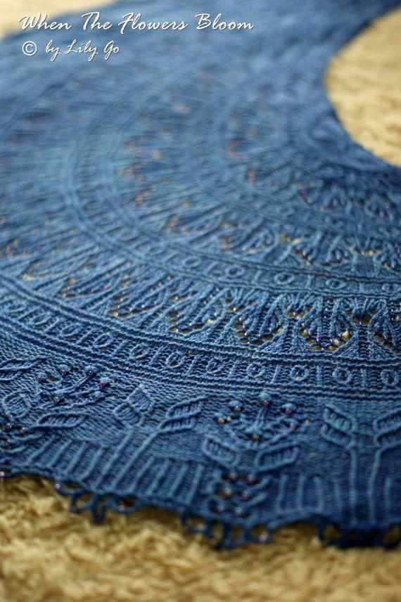 When The Flowers Bloom Knitting Shawl Pattern in PDF | Nachschlagen ...