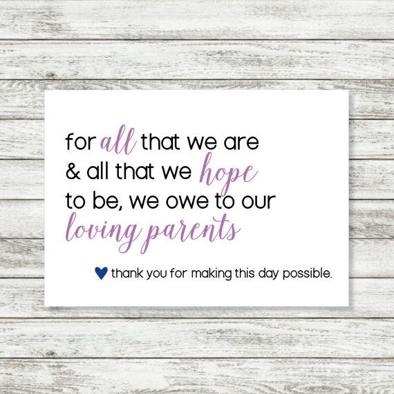 Parent Thank You Card  Wedding Thank You Card For Parents   X