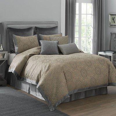 Beautiful Modern Elegant Rich Silver Grey Gold Brown Taupe Tan Comforter Set Comforter Sets Bedding Sets Traditional Bedroom