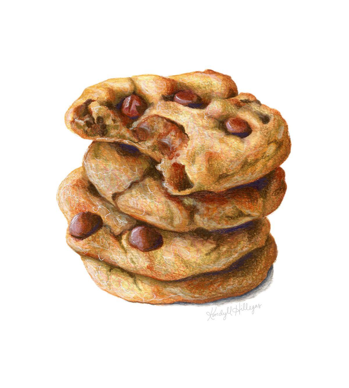 Chocolate Chip Cookies Con Imagenes Ilustraciones De Alimentos