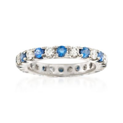 Ross-Simons - 1.10 ct. t.w. Sapphire and .90 ct. t.w. Diamond Eternity Band in 14kt White Gold. Size 7 - #861785