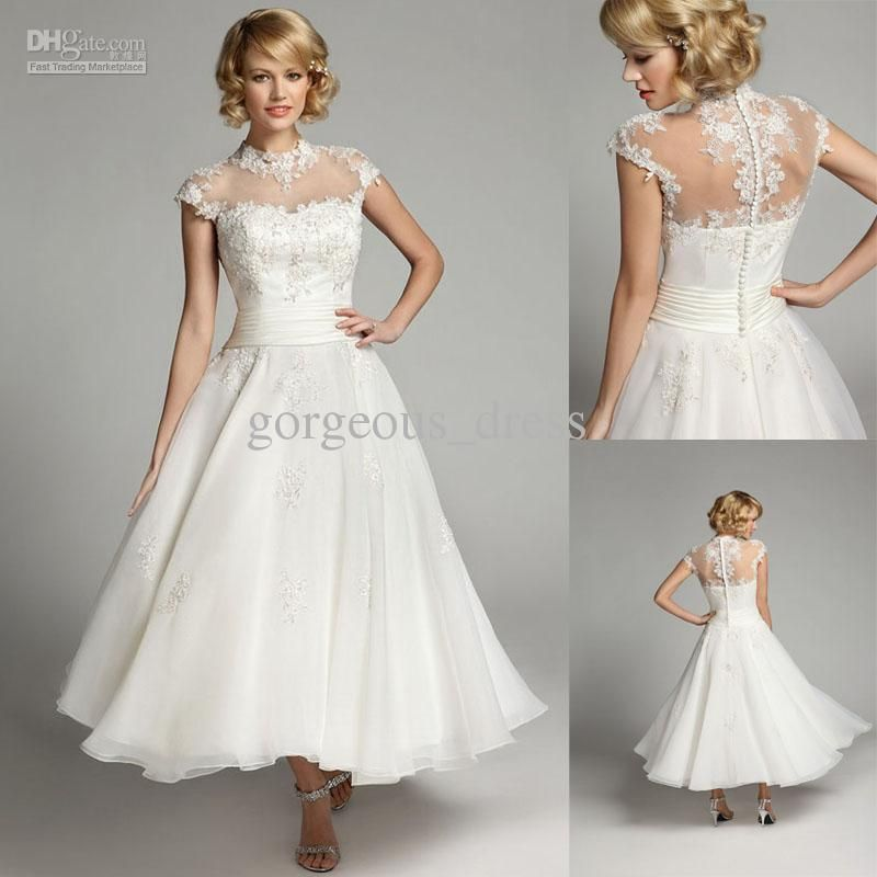 Sweetlwhite A Line Tea Length Closed Back Applique Jewel Short Sleeves Wedding Dresses
