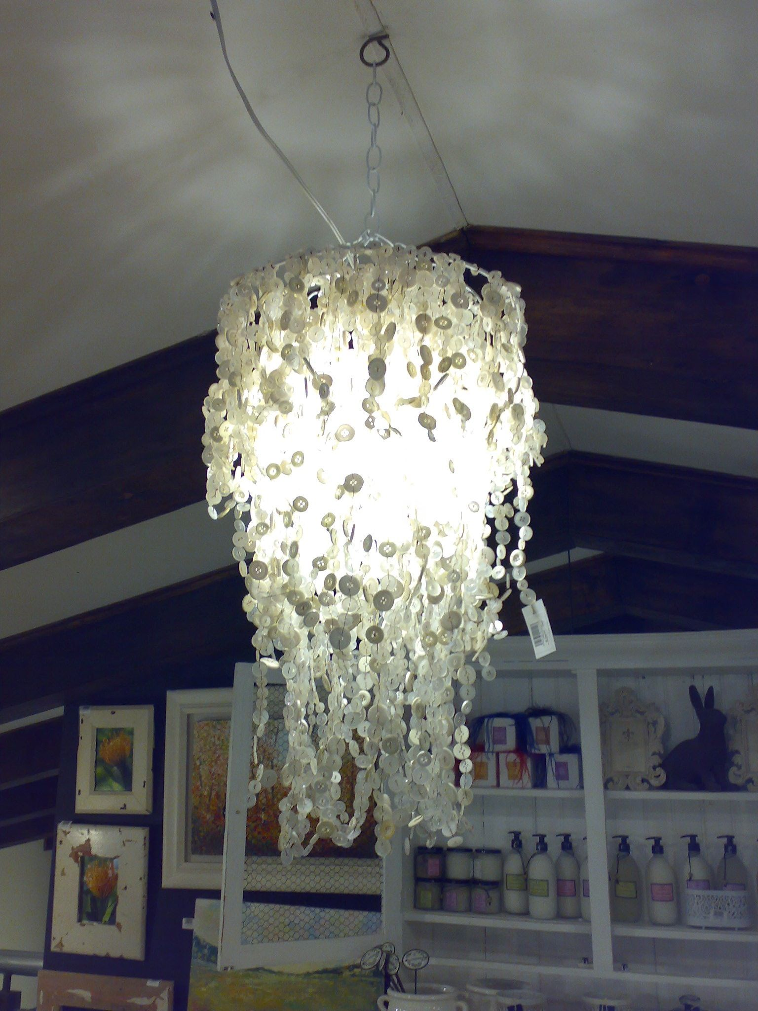 Pinned by kaatjebee Beautiful chandelier made with all kinds of white buttons in three rings, Irene Farm, Centurion, SA