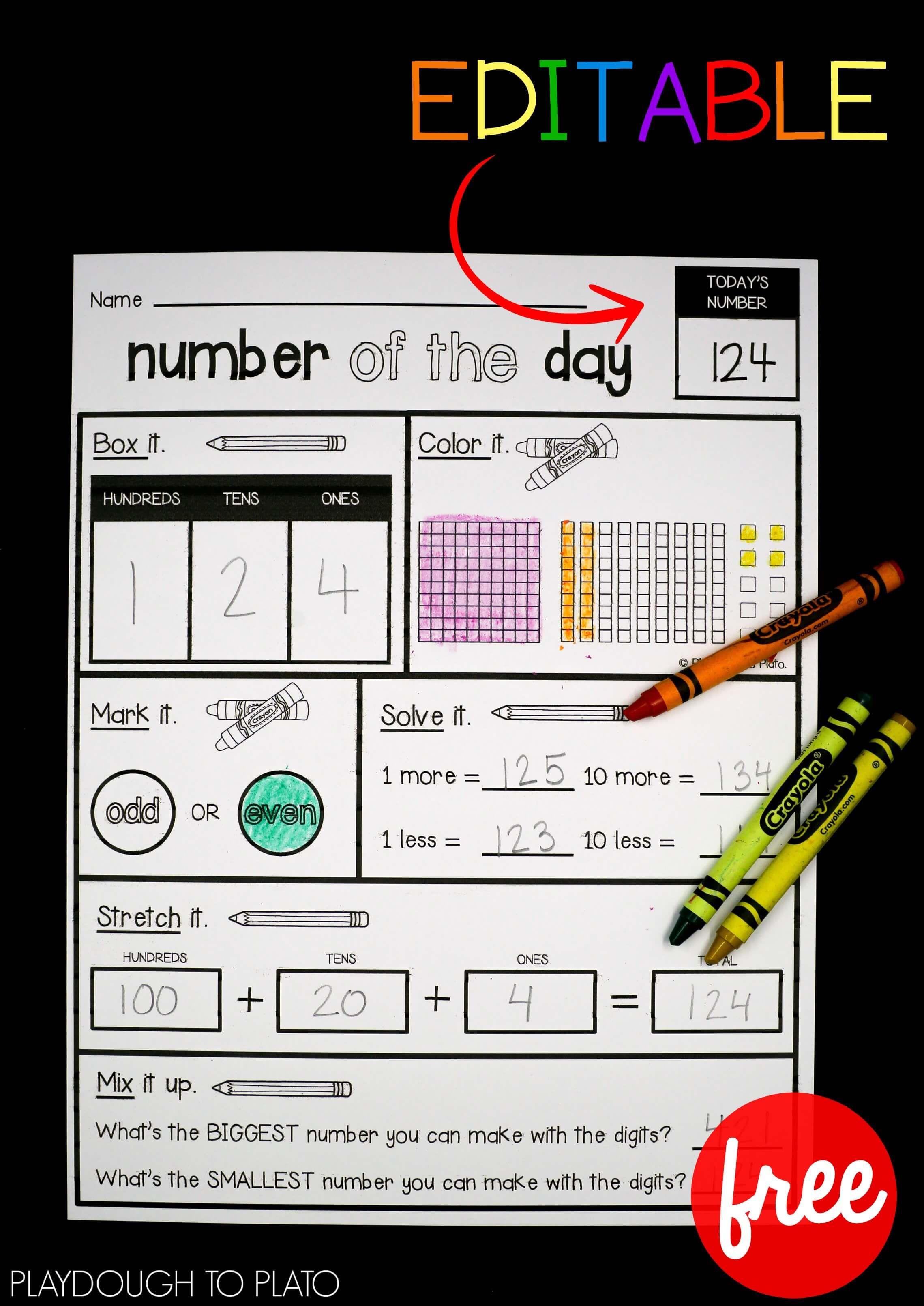 Editable Number Of The Day Sheet Playdough To Plato 3rd Grade Math 1st Grade Math Math Centers