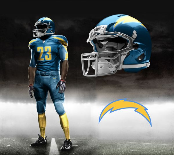 San Diego Chargers Colors: Nike Pro Combat Uniform Designs By Brandon Moore