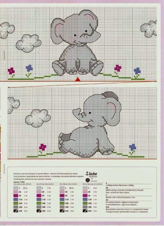 ♥Meus Gráficos De Ponto Cruz♥: Barras: Elefante e Urso em Ponto ...