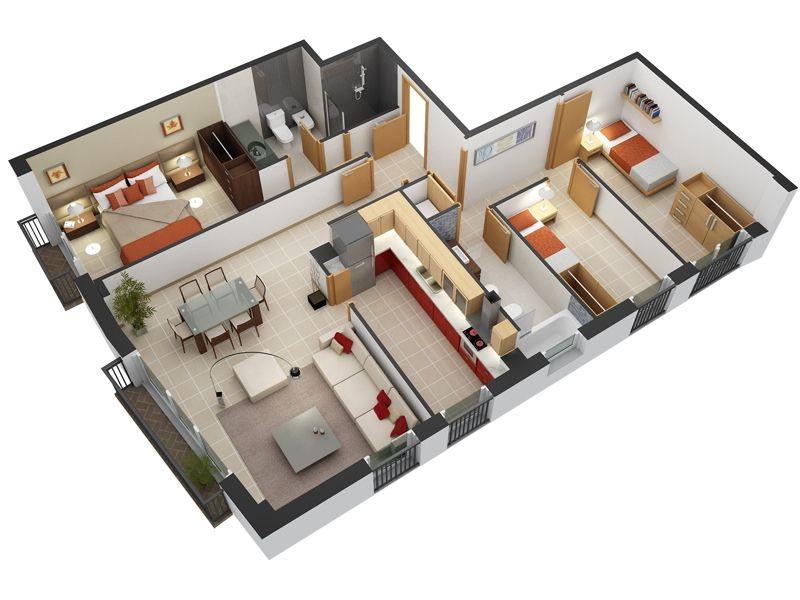 20 planos de departamentos de 3 habitaciones modernos for Construye tu casa en 3d