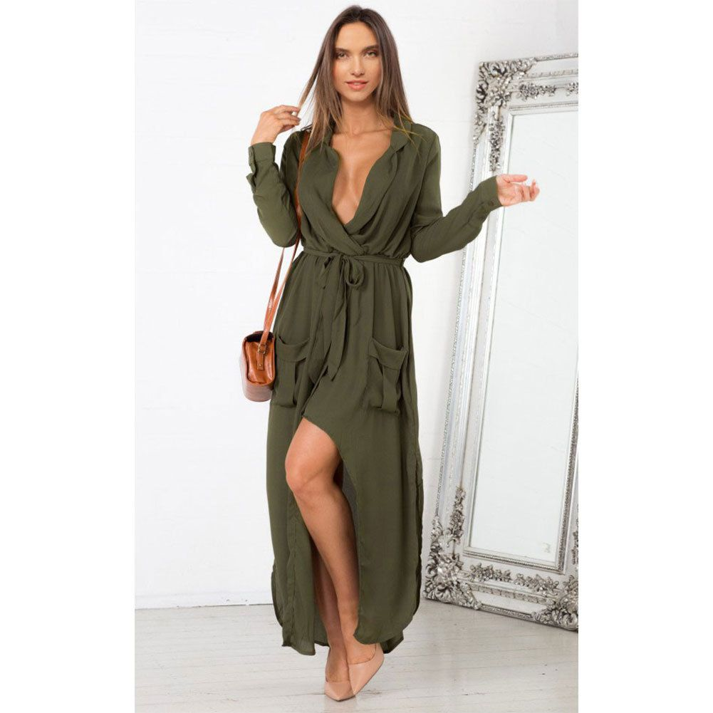 V Neck Sexy Long Sleeve Maxi Dress Summer | Summer Dresses ...