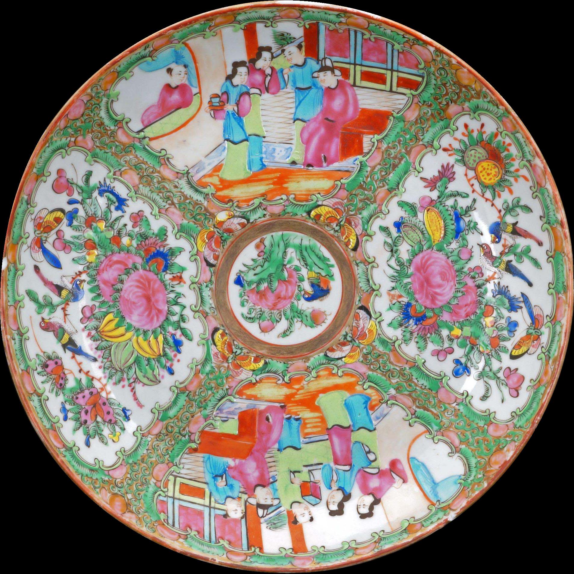 Vintage Japan Famille Rose Canton Asian Garden Floral Gold Trimmed Ceramic Bowl