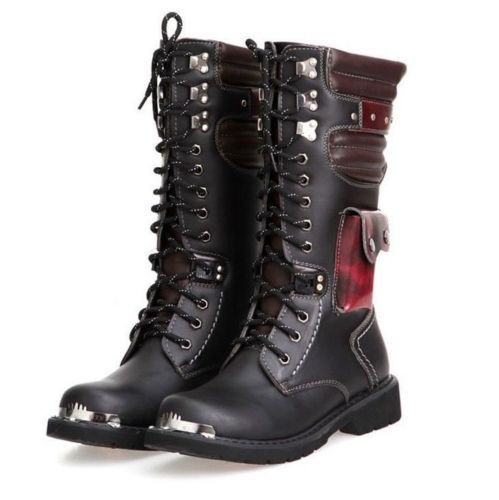 Punk-Rock-MENS-BLACK-GOTH-PUNK-ROCK-BAND-BOOT-cosplay-performances-shoes