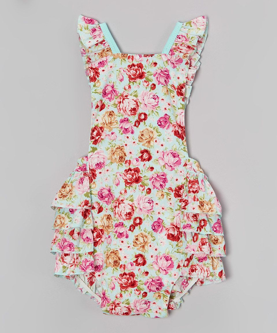 mint u0026 red floral bubble romper infant by baby gem zulily