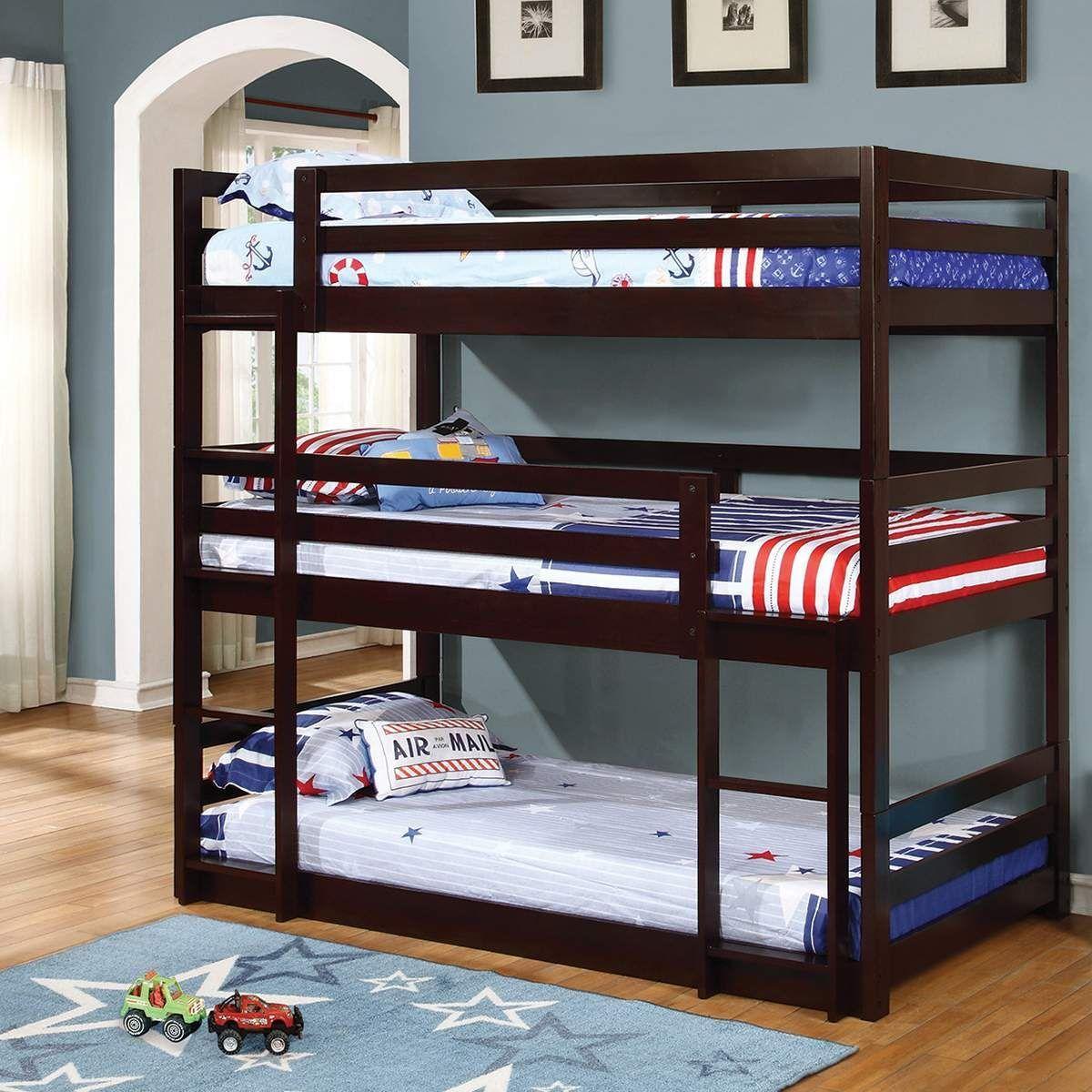 Double loft bed with desk  The Triple Decker triple twin bunk bed speaks for itself Just look