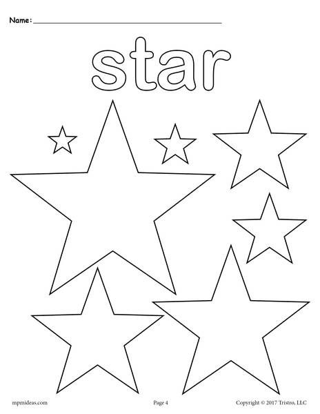 Stars Coloring Page Shape Coloring Pages Star Coloring Pages Shapes Coloring Pages Star shape preschool worksheets