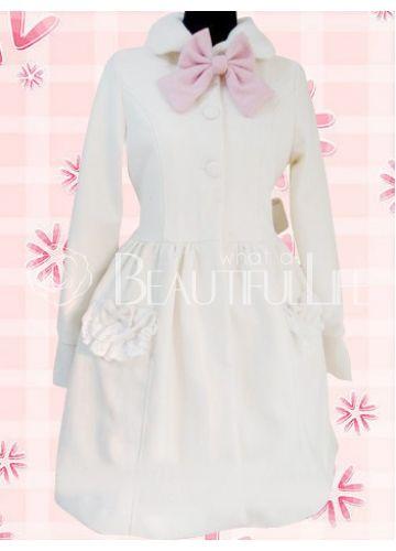 $239.99  Sweet Beige Long Sleeves Bow Wool Lolita Overcoat #sweet #overcoat #lolita