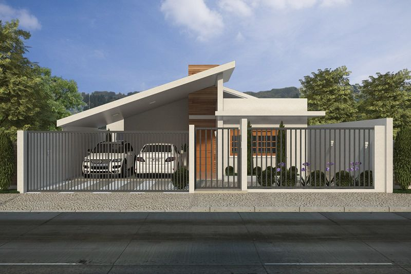 Casa t rrea com garagem para dois carros projetos de for Modelos de casas americanas modernas