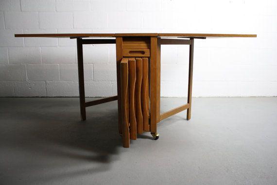 SOLD Mid Century Danish Modern Drop Leaf Hide A Way Table W - Mid century modern folding dining table