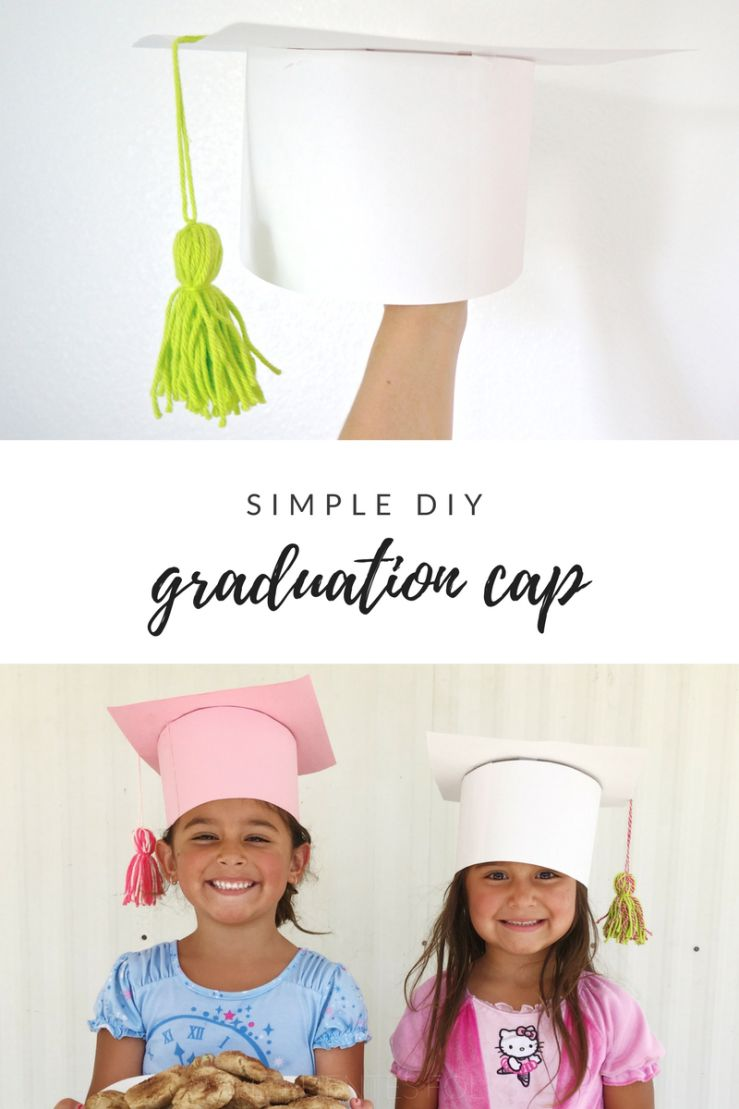 How To Make Your Own Simple Diy Graduation Caps For Kids Complete With Adorable Yarn Tassel Easy Enough For Diy Graduation Cap Graduation Diy Kids Graduation