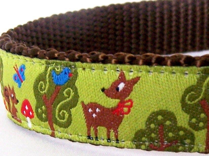 My Forest Friends Ribbon Dog Collar by daydogdesigns on Etsy https://www.etsy.com/listing/65013066/my-forest-friends-ribbon-dog-collar