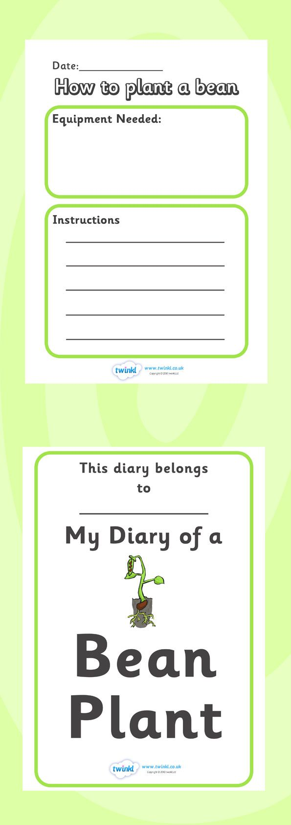 Twinkl Resources >> My Diary of a Bean Plant >> Classroom printables ...
