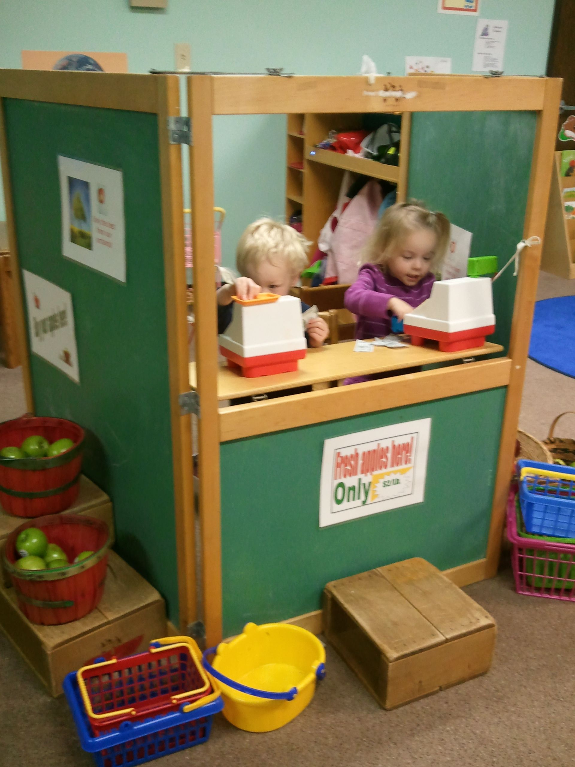 Set Up An Apple Store With Cash Registers Play Money Apples And Baskets Skills Dramatic Play