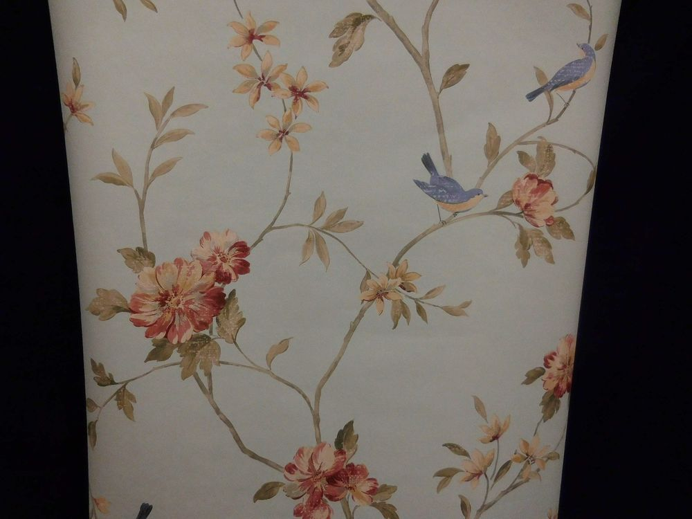 Norwall Wallpaper Floral Peach Rose Blue Birds Hm26329 Lot