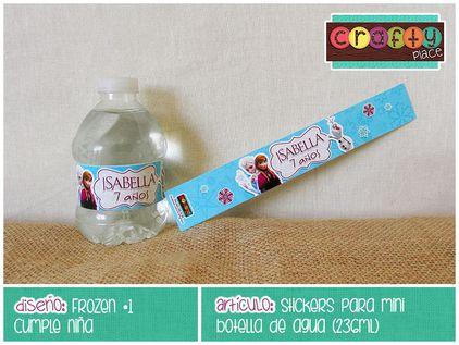 Etiquetas para botella de agua de Frozen - Cumpleaños niña… Podemos personalizarla con cualquier tema! • Frozen water bottle labels - Girl birthday... We can personalize it with any party theme!