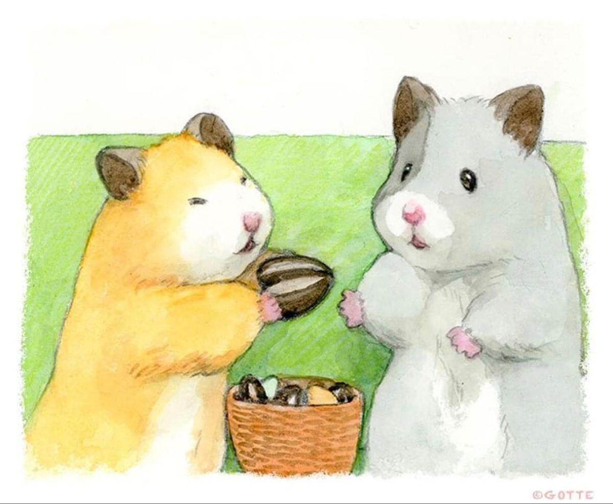 Pin By Nid Likhit On Gotte Hamster Painter Cute Animal Drawings Funny Hamsters Cute Hamsters