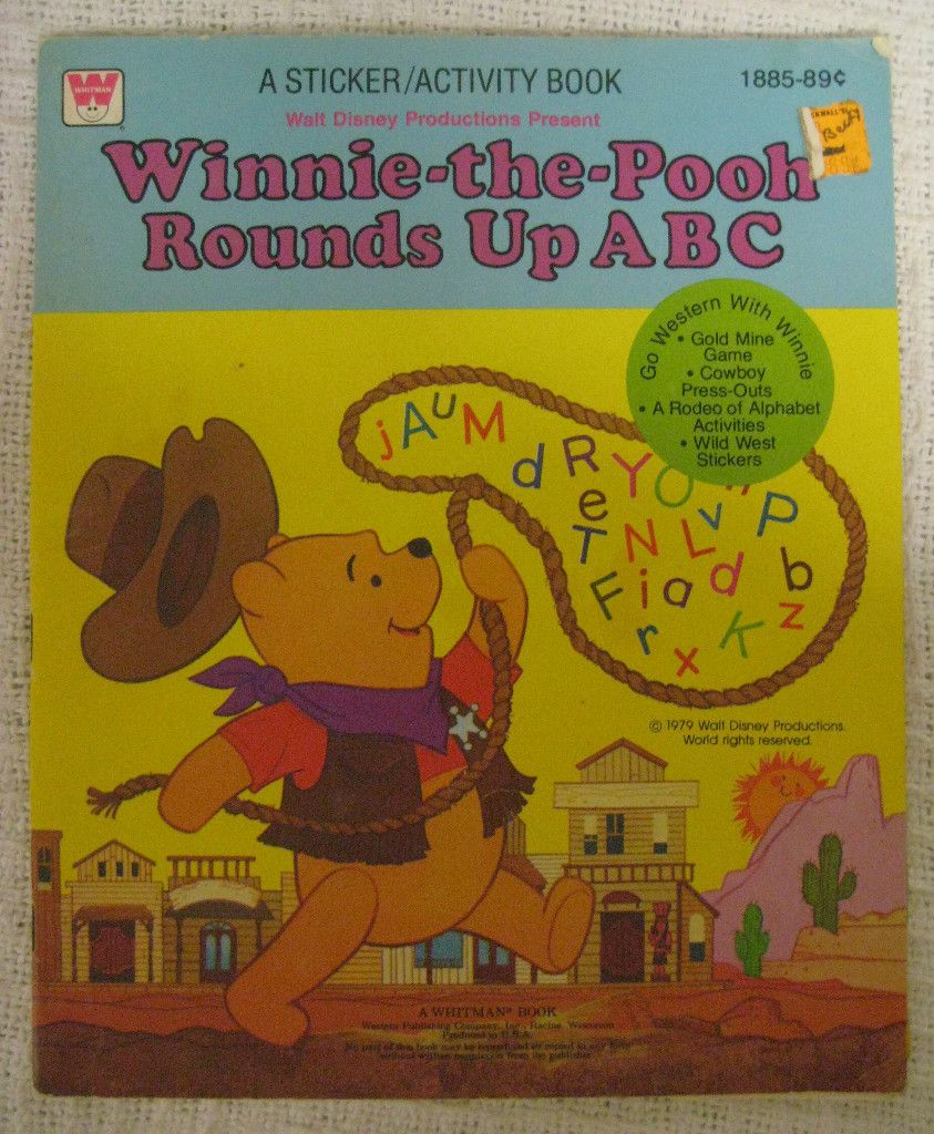 Winnie The Pooh Rounds Up Abc Coloring Sticker Activity Book Whitman 1885 1979 Abc Coloring Book Activities Coloring Stickers