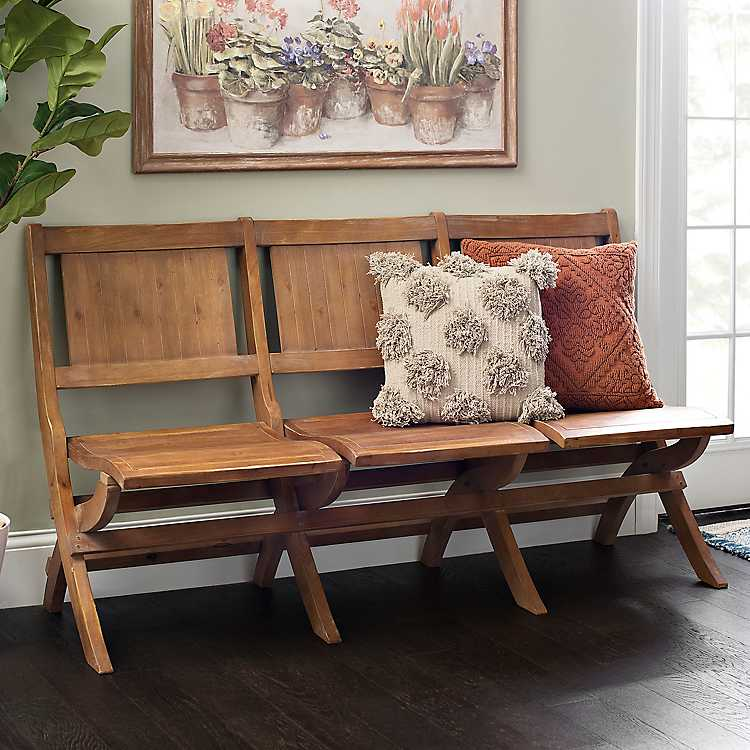 Folding 3 Seat Wooden Bench In 2020 With Images Living Room Bench Ottoman Bench Furniture