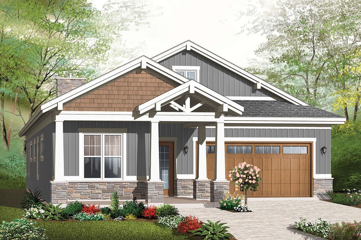 House Plan 034 01172 Narrow Lot Plan 1 883 Square Feet 2 3 Bedrooms 2 Bathrooms In 2021 Craftsman Bungalow House Plans Craftsman Style House Plans Narrow Lot House Plans