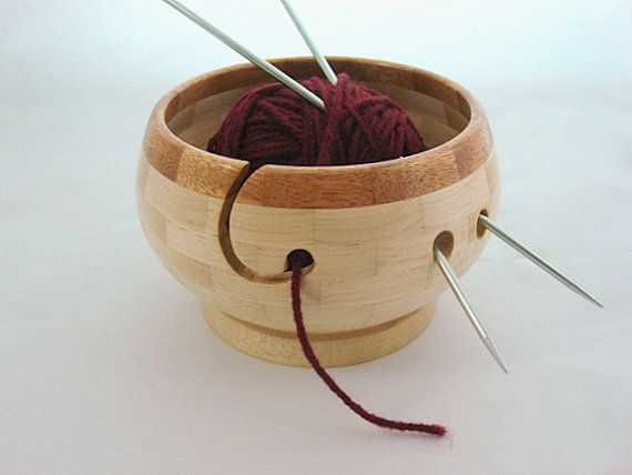 NEW Compact Wooden Knitting and Yarn Bowl Hard by TwistedTimber