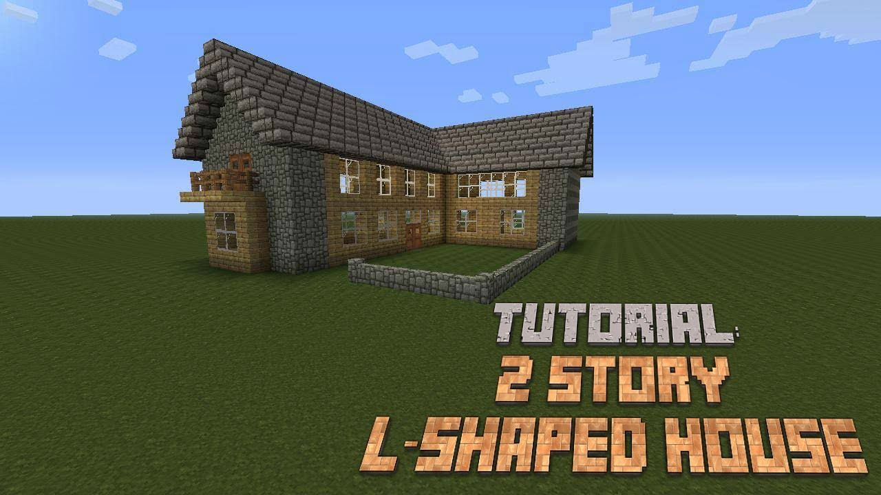 Minecraft - build a nice 2 story L-shaped house - Tutorial ...