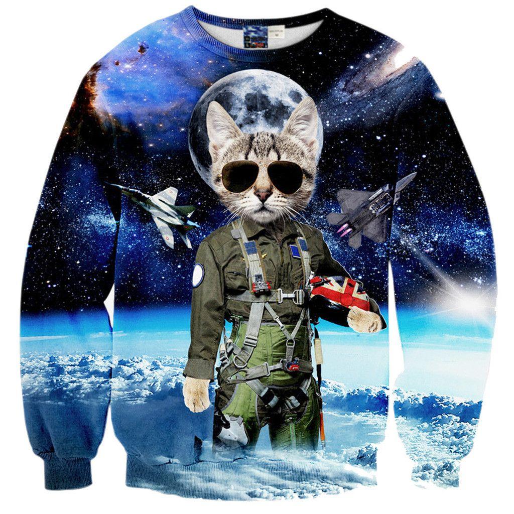 Space Kitty Cat Fighter Jets Nebula Cosmic Universe All Over Print Sweater Cat Sweatshirt Star Wars Fashion Men Mens Sweatshirts Hoodie [ 1024 x 1024 Pixel ]